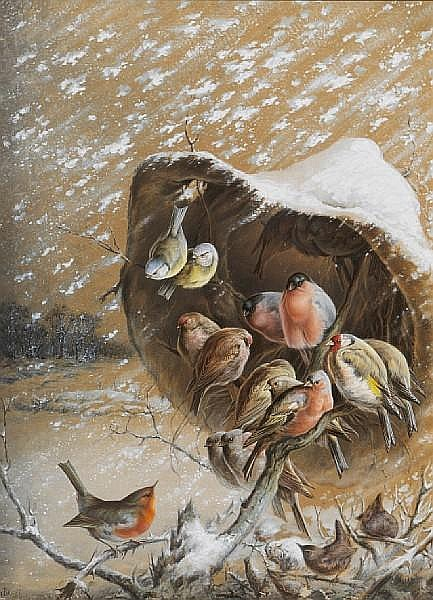 A robin, wrens, bullfinches, blue tits and other birds sheltering in a snow storm; a flock of sparrows roosting in a winter landscape (a pair) each by Harry Bright.