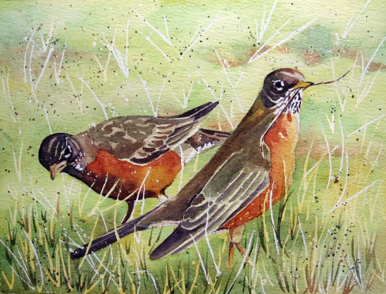 """Robins"" by Leslie White, used with permission from the artist."