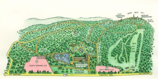 The Great Blue Hill trail map, courtesy of MassAudubon.